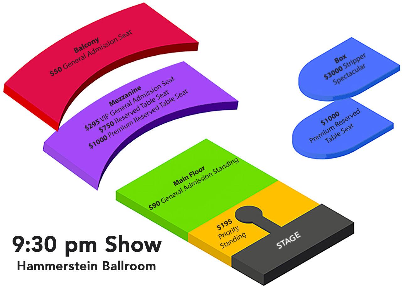 Hammerstein Ballroom 9:30 pm Seating Chart