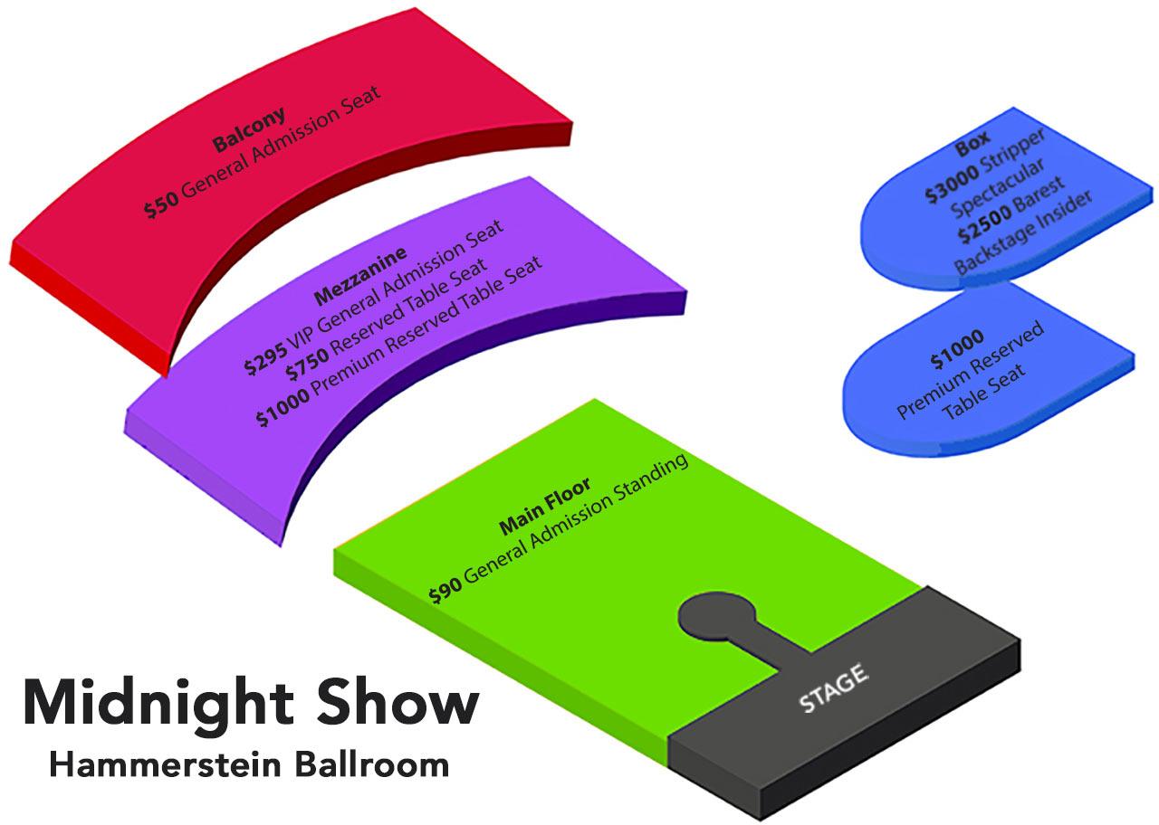 Hammerstein Ballroom Midnight Seating Chart