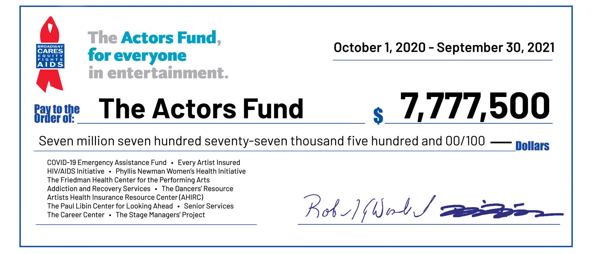 The Actors Fund 2021 Check